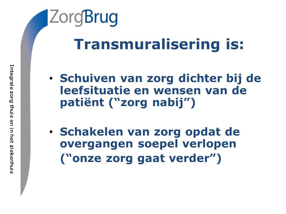 Integrale zorg thuis en in het ziekenhuis Transmuralisering is: Schuiven van zorg dichter bij de leefsituatie en wensen van de patiënt ( zorg nabij ) Schakelen van zorg opdat de overgangen soepel verlopen ( onze zorg gaat verder )