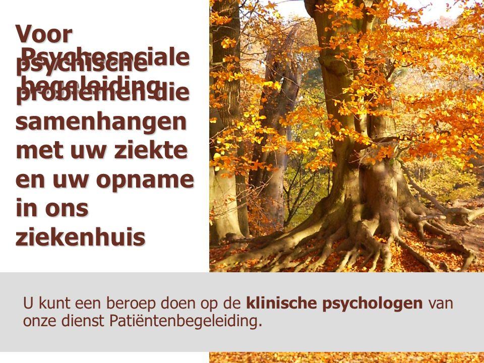 Psychosociale begeleiding U kunt een beroep doen op de klinische psychologen van onze dienst Patiëntenbegeleiding. Voor psychische problemen die samen