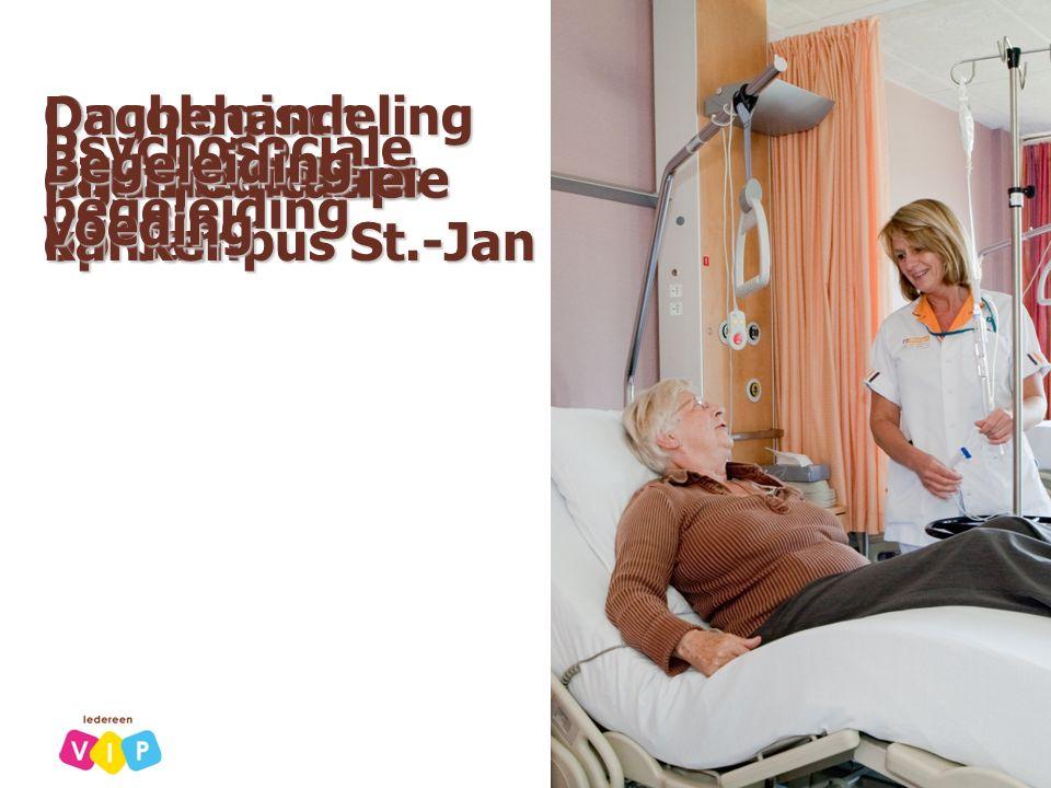 Oncologisch dagziekenhuis op Campus St.-Jan Dagbehandeling patiënten met kanker ChemotherapiePijnmedicatie Psychosociale begeleiding Begeleidingvoedin