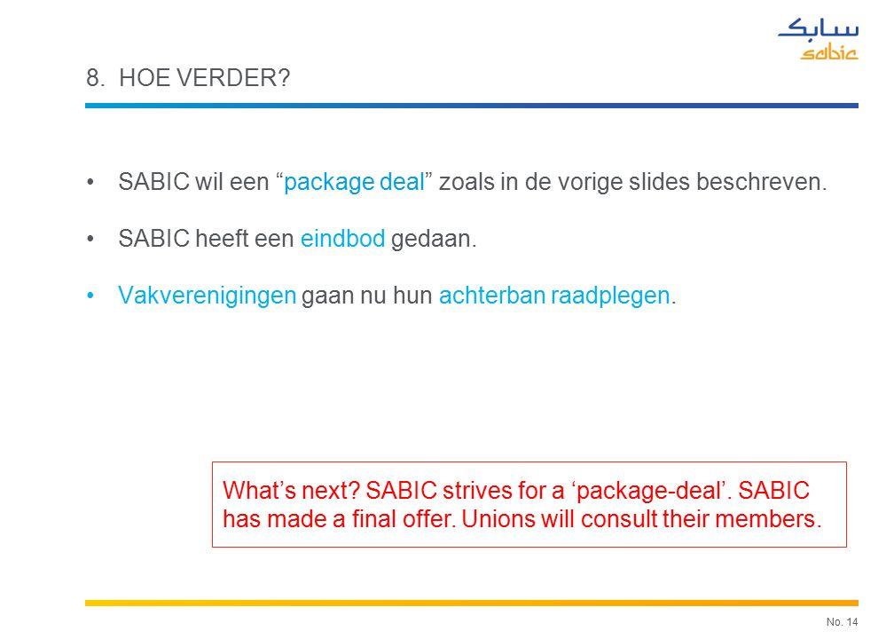 No. 14 8. HOE VERDER. SABIC wil een package deal zoals in de vorige slides beschreven.