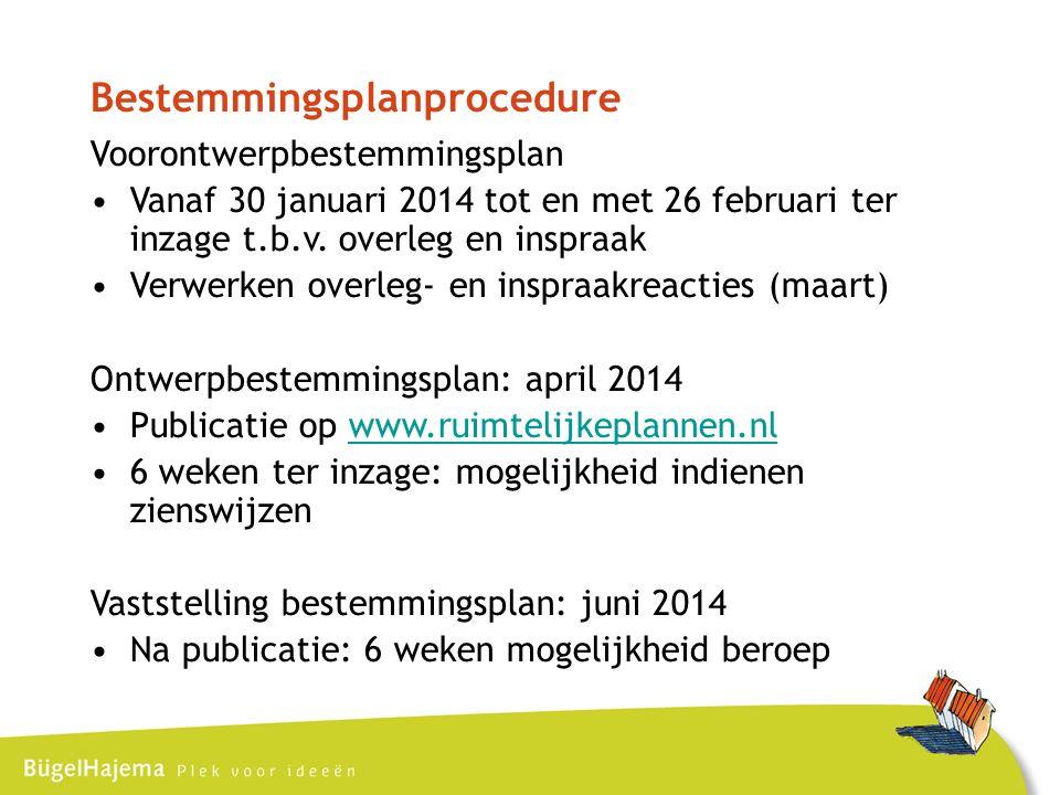 Bestemmingsplanprocedure Voorontwerpbestemmingsplan Vanaf 30 januari 2014 tot en met 26 februari ter inzage t.b.v.