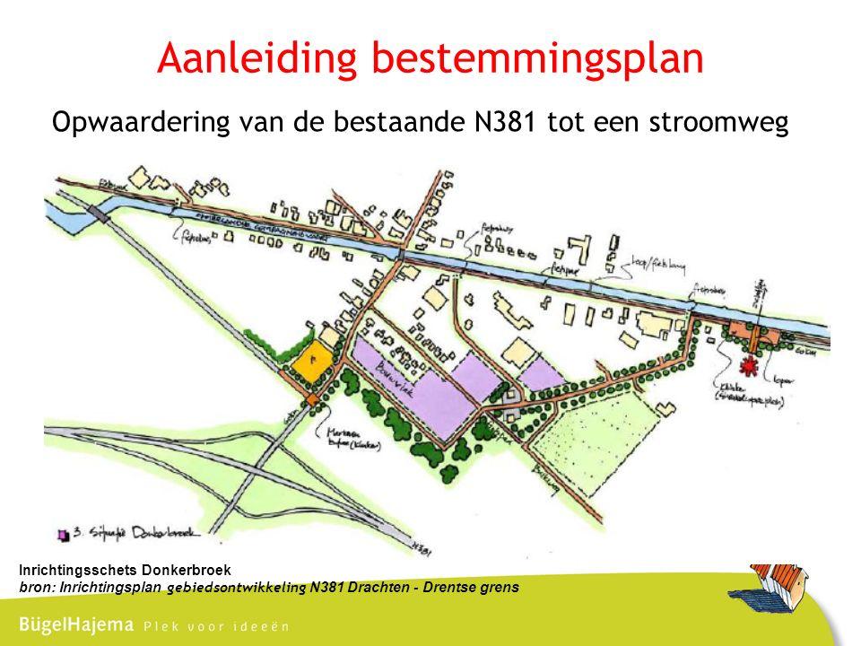 Aanleiding bestemmingsplan Opwaardering van de bestaande N381 tot een stroomweg Inrichtingsschets Donkerbroek bron: Inrichtingsplan gebiedsontwikkeling N381 Drachten - Drentse grens