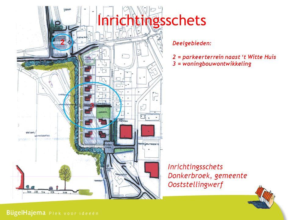 Inrichtingsschets Donkerbroek, gemeente Ooststellingwerf 2 3 Deelgebieden: 2 = parkeerterrein naast 't Witte Huis 3 = woningbouwontwikkeling Inrichtingsschets