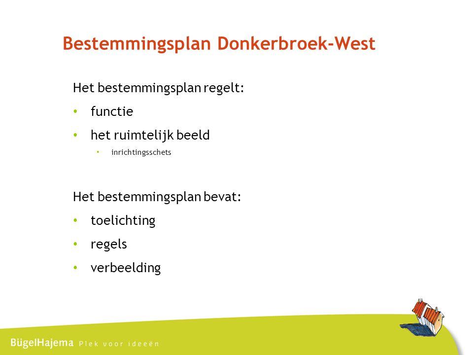Bestemmingsplan Donkerbroek-West Het bestemmingsplan regelt: functie het ruimtelijk beeld inrichtingsschets Het bestemmingsplan bevat: toelichting regels verbeelding
