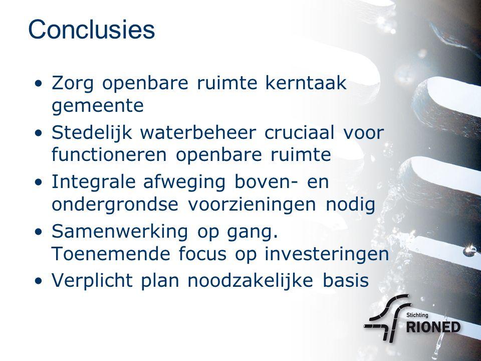 Conclusies Zorg openbare ruimte kerntaak gemeente Stedelijk waterbeheer cruciaal voor functioneren openbare ruimte Integrale afweging boven- en ondergrondse voorzieningen nodig Samenwerking op gang.
