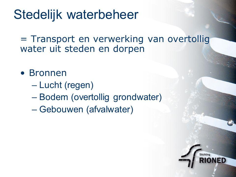 Stedelijk waterbeheer = Transport en verwerking van overtollig water uit steden en dorpen Bronnen –Lucht (regen) –Bodem (overtollig grondwater) –Gebouwen (afvalwater)