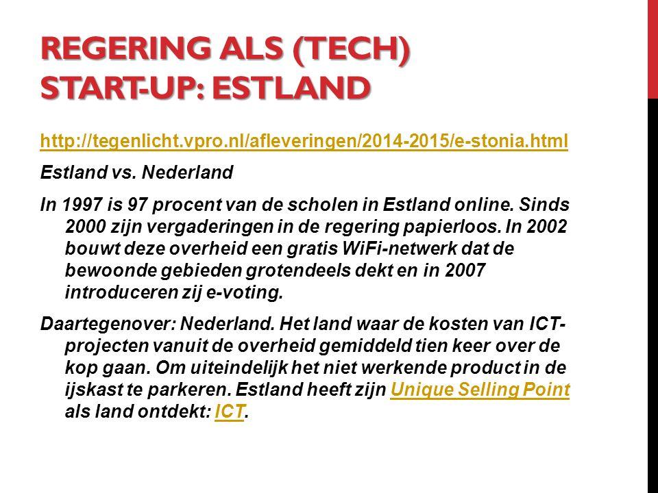REGERING ALS (TECH) START-UP: ESTLAND http://tegenlicht.vpro.nl/afleveringen/2014-2015/e-stonia.html Estland vs.