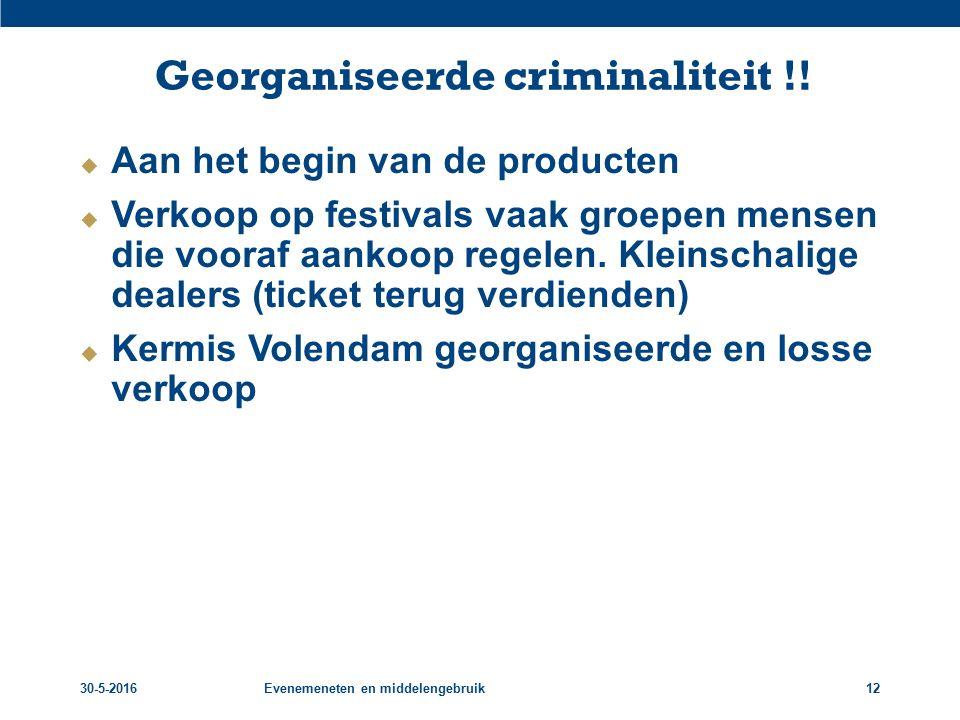 Georganiseerde criminaliteit !!  Aan het begin van de producten  Verkoop op festivals vaak groepen mensen die vooraf aankoop regelen. Kleinschalige