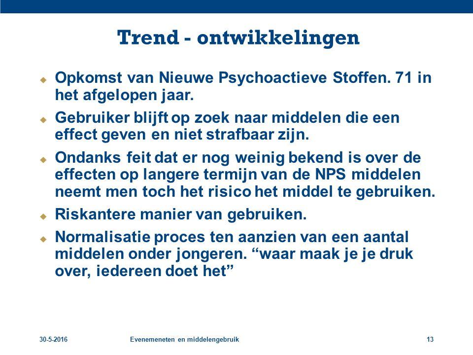 30-5-2016Evenemeneten en middelengebruik13 Trend - ontwikkelingen  Opkomst van Nieuwe Psychoactieve Stoffen. 71 in het afgelopen jaar.  Gebruiker bl