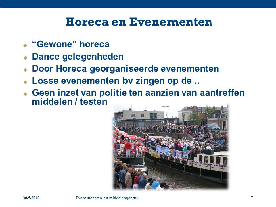 """30-5-2016Evenemeneten en middelengebruik7 Horeca en Evenementen  """"Gewone"""" horeca  Dance gelegenheden  Door Horeca georganiseerde evenementen  Loss"""