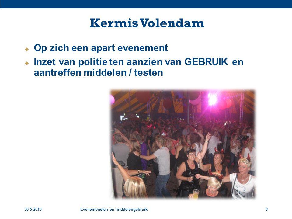 30-5-2016Evenemeneten en middelengebruik8 Kermis Volendam  Op zich een apart evenement  Inzet van politie ten aanzien van GEBRUIK en aantreffen middelen / testen