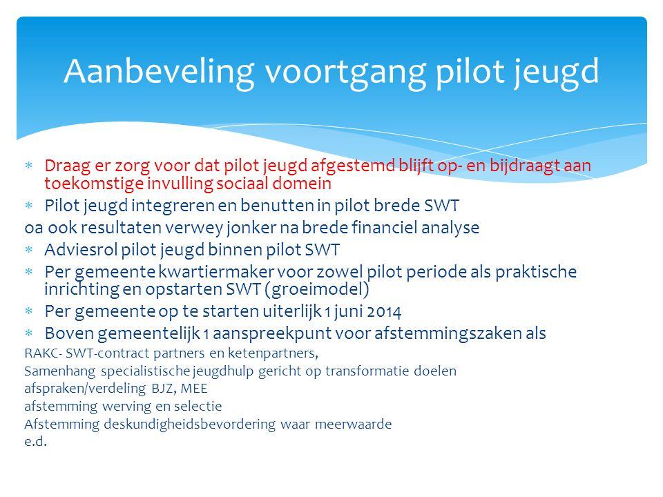  Draag er zorg voor dat pilot jeugd afgestemd blijft op- en bijdraagt aan toekomstige invulling sociaal domein  Pilot jeugd integreren en benutten i