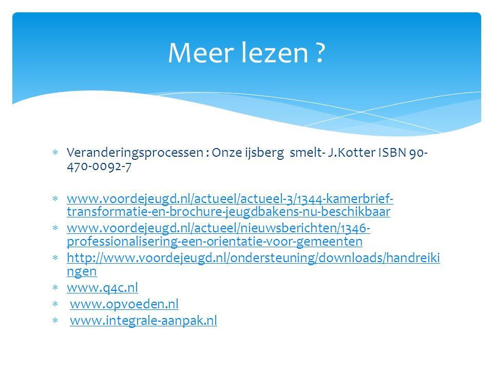  Veranderingsprocessen : Onze ijsberg smelt- J.Kotter ISBN 90- 470-0092-7  www.voordejeugd.nl/actueel/actueel-3/1344-kamerbrief- transformatie-en-brochure-jeugdbakens-nu-beschikbaar www.voordejeugd.nl/actueel/actueel-3/1344-kamerbrief- transformatie-en-brochure-jeugdbakens-nu-beschikbaar  www.voordejeugd.nl/actueel/nieuwsberichten/1346- professionalisering-een-orientatie-voor-gemeenten www.voordejeugd.nl/actueel/nieuwsberichten/1346- professionalisering-een-orientatie-voor-gemeenten  http://www.voordejeugd.nl/ondersteuning/downloads/handreiki ngen http://www.voordejeugd.nl/ondersteuning/downloads/handreiki ngen  www.q4c.nl www.q4c.nl  www.opvoeden.nlwww.opvoeden.nl  www.integrale-aanpak.nlwww.integrale-aanpak.nl Meer lezen