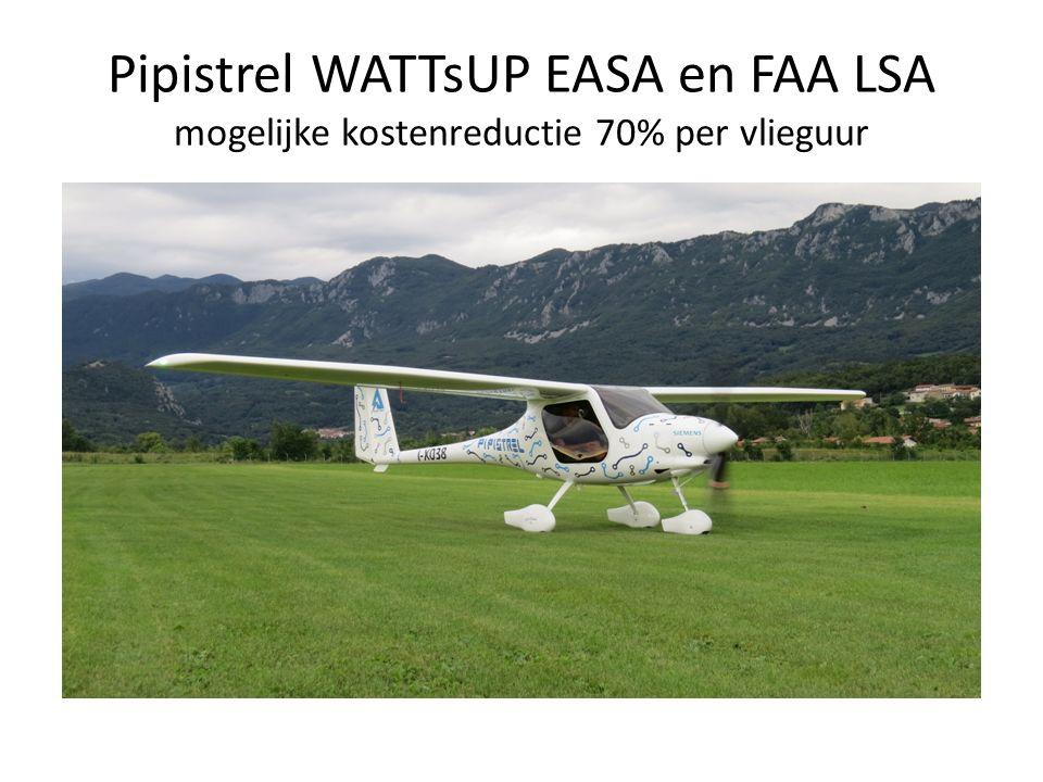Pipistrel WATTsUP EASA en FAA LSA mogelijke kostenreductie 70% per vlieguur