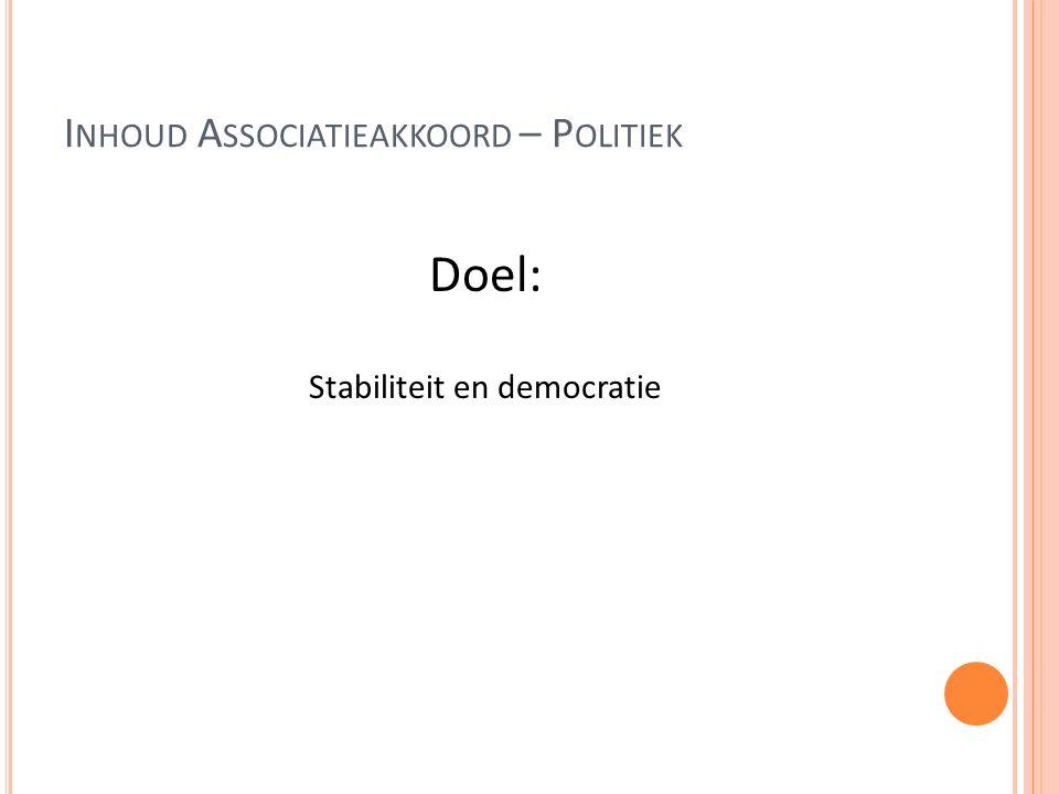 I NHOUD A SSOCIATIEAKKOORD – P OLITIEK Doel: Stabiliteit en democratie