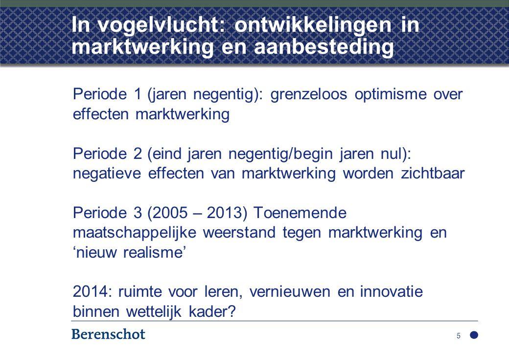 In vogelvlucht: ontwikkelingen in marktwerking en aanbesteding Periode 1 (jaren negentig): grenzeloos optimisme over effecten marktwerking Periode 2 (