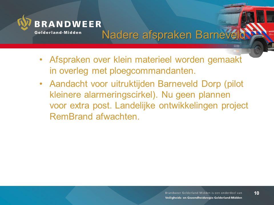 10 Nadere afspraken Barneveld Afspraken over klein materieel worden gemaakt in overleg met ploegcommandanten. Aandacht voor uitruktijden Barneveld Dor