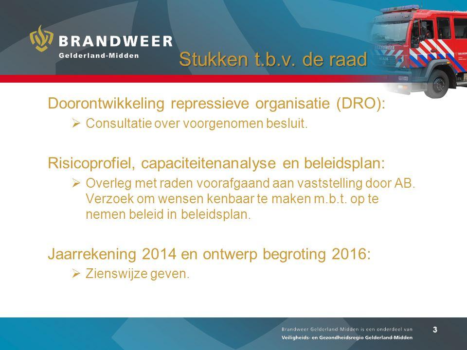3 Stukken t.b.v. de raad Stukken t.b.v. de raad Doorontwikkeling repressieve organisatie (DRO):  Consultatie over voorgenomen besluit. Risicoprofiel,