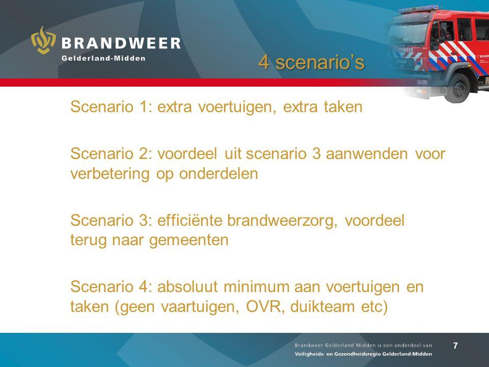 7 4 scenario's Scenario 1: extra voertuigen, extra taken Scenario 2: voordeel uit scenario 3 aanwenden voor verbetering op onderdelen Scenario 3: efficiënte brandweerzorg, voordeel terug naar gemeenten Scenario 4: absoluut minimum aan voertuigen en taken (geen vaartuigen, OVR, duikteam etc)