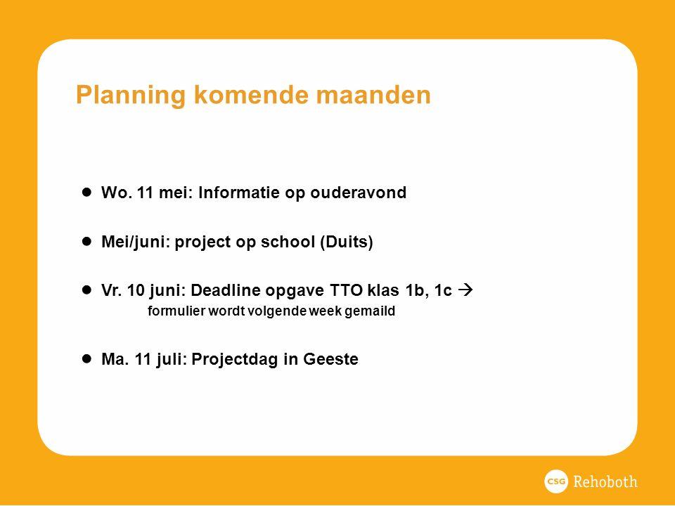 Planning komende maanden ● Wo.