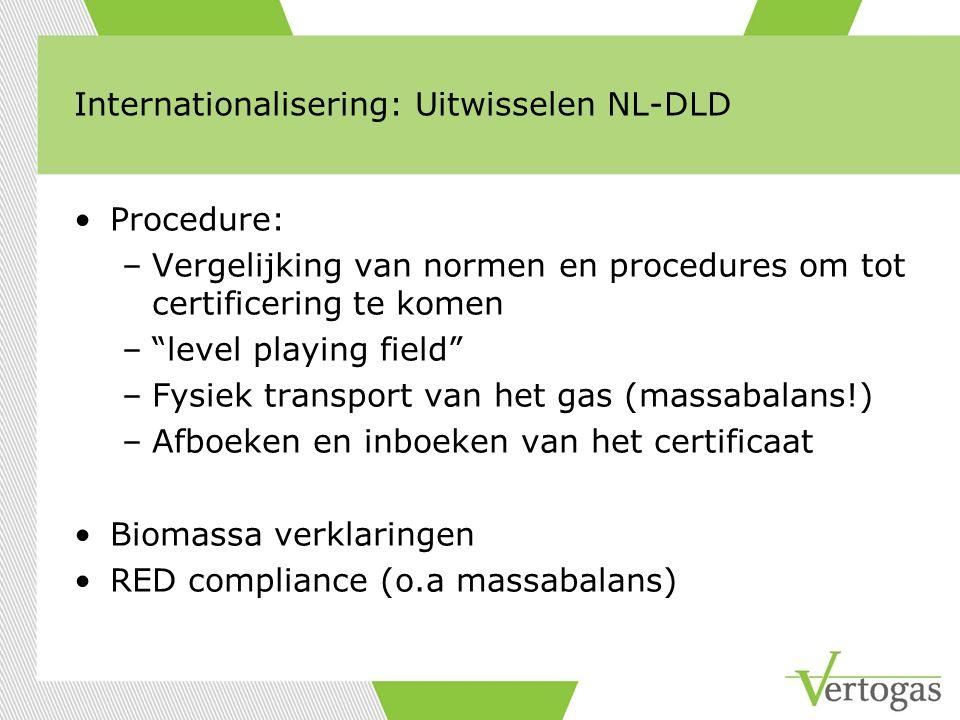 """Internationalisering: Uitwisselen NL-DLD Procedure: –Vergelijking van normen en procedures om tot certificering te komen –""""level playing field"""" –Fysie"""