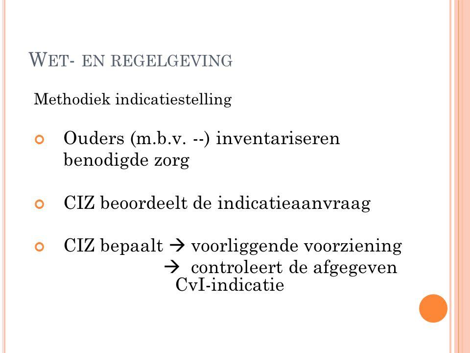W ET - EN REGELGEVING Methodiek indicatiestelling Ouders (m.b.v.
