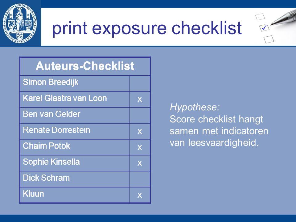 print exposure checklist Auteurs-Checklist Simon Breedijk Karel Glastra van Loon Ben van Gelder Renate Dorrestein Chaim Potok Sophie Kinsella Dick Sch