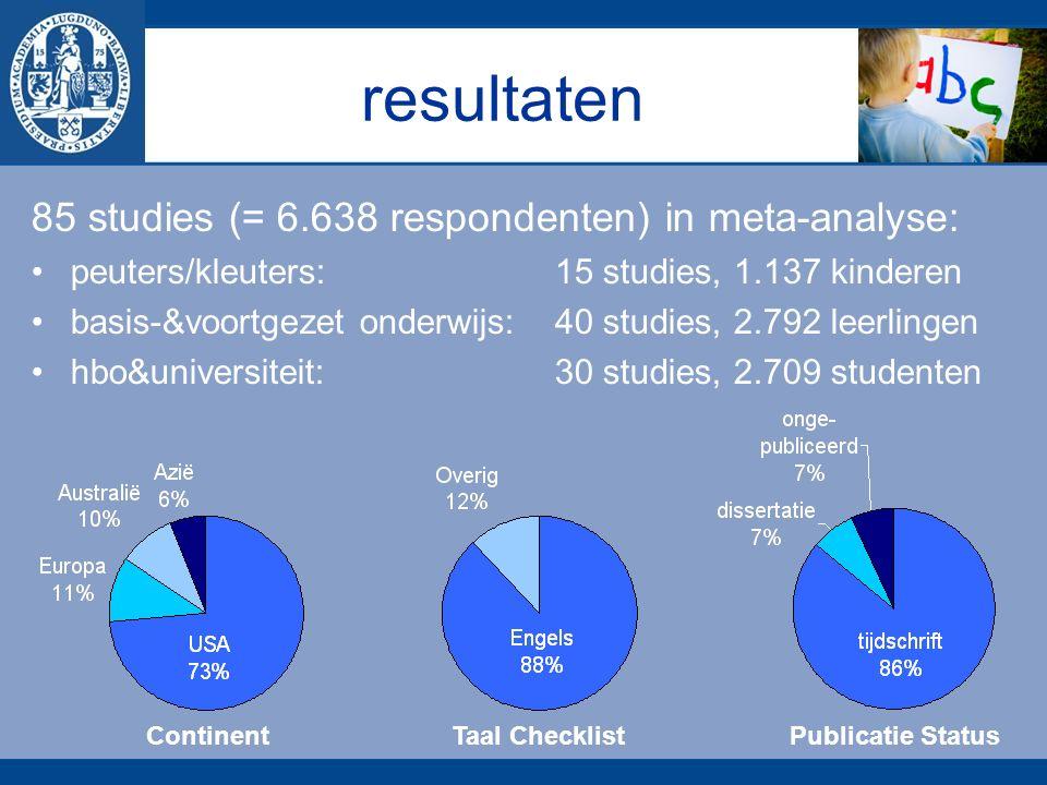 resultaten 85 studies (= 6.638 respondenten) in meta-analyse: peuters/kleuters: 15 studies, 1.137 kinderen basis-&voortgezet onderwijs:40 studies, 2.792 leerlingen hbo&universiteit: 30 studies, 2.709 studenten ContinentTaal ChecklistPublicatie Status