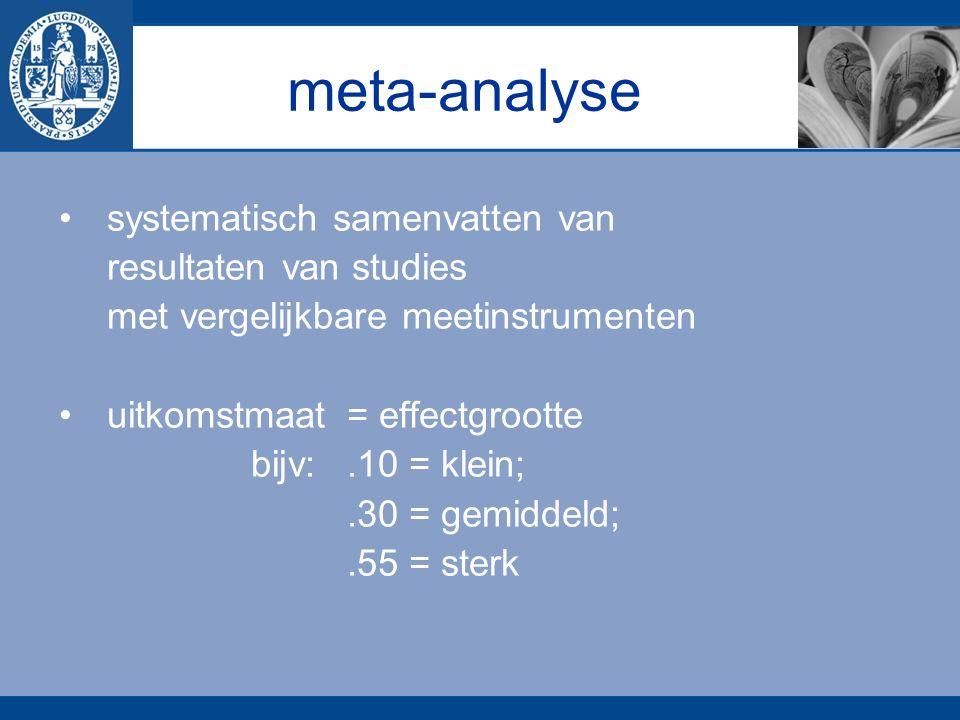 meta-analyse systematisch samenvatten van resultaten van studies met vergelijkbare meetinstrumenten uitkomstmaat = effectgrootte bijv:.10 = klein;.30 = gemiddeld;.55 = sterk