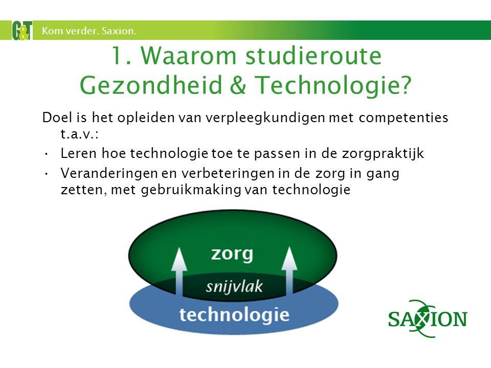 Kom verder. Saxion. 1. Waarom studieroute Gezondheid & Technologie.