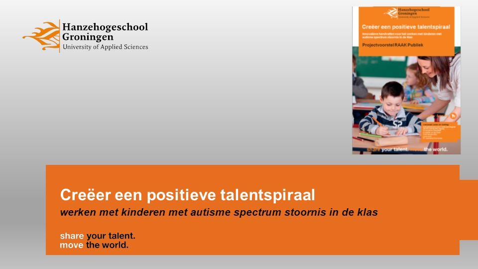 Doel van de workshop Informatie en discussie over Talent van leerlingen met ASS Interactie-vaardigheden / pedagogische-didactische strategieën/ vaardigheden om leerlingen met autisme spectrum stoornis in een positieve talentspiraal te brengen