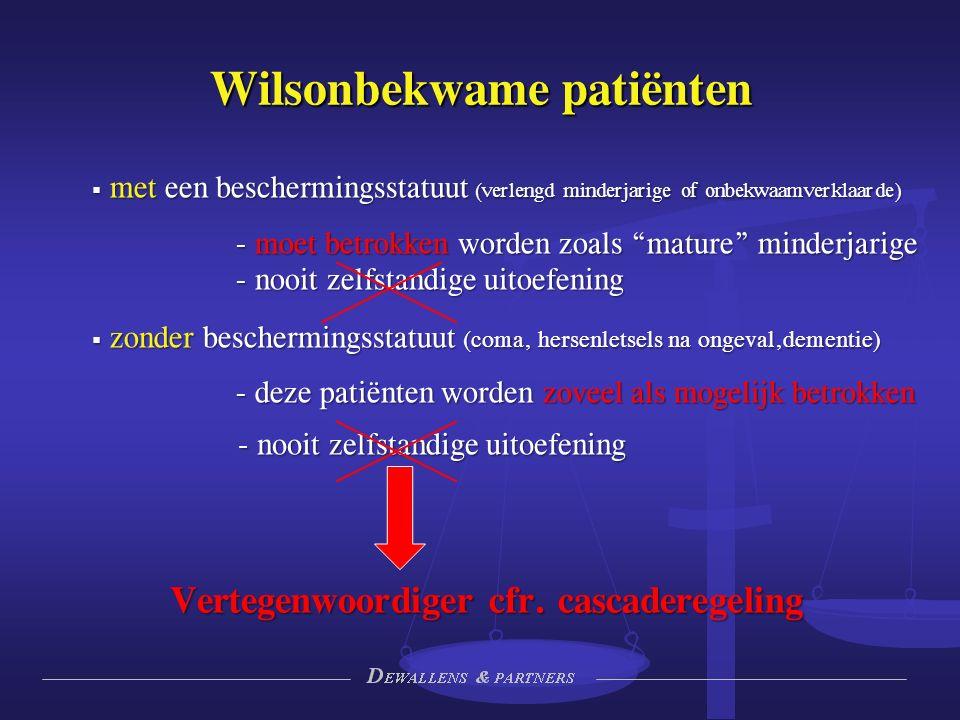 Wilsonbekwame patiënten  met een beschermingsstatuut (verlengd minderjarige of onbekwaamverklaarde) - moet betrokken worden zoals mature minderjarige - nooit zelfstandige uitoefening  zonder beschermingsstatuut (coma, hersenletsels na ongeval,dementie) - deze patiënten worden zoveel als mogelijk betrokken - nooit zelfstandige uitoefening Vertegenwoordiger cfr.
