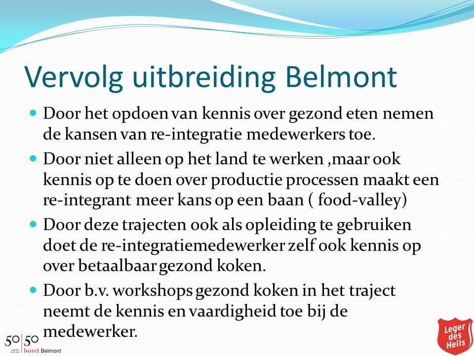 Vervolg uitbreiding Belmont Door het opdoen van kennis over gezond eten nemen de kansen van re-integratie medewerkers toe. Door niet alleen op het lan