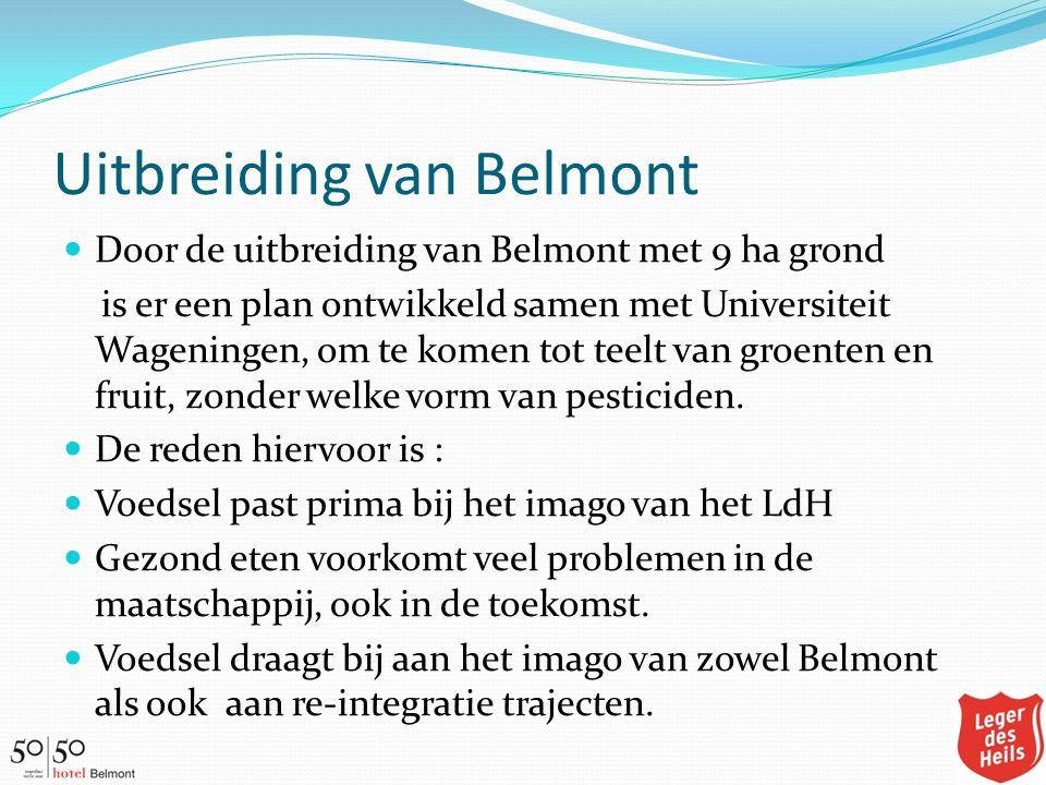 Uitbreiding van Belmont Door de uitbreiding van Belmont met 9 ha grond is er een plan ontwikkeld samen met Universiteit Wageningen, om te komen tot te