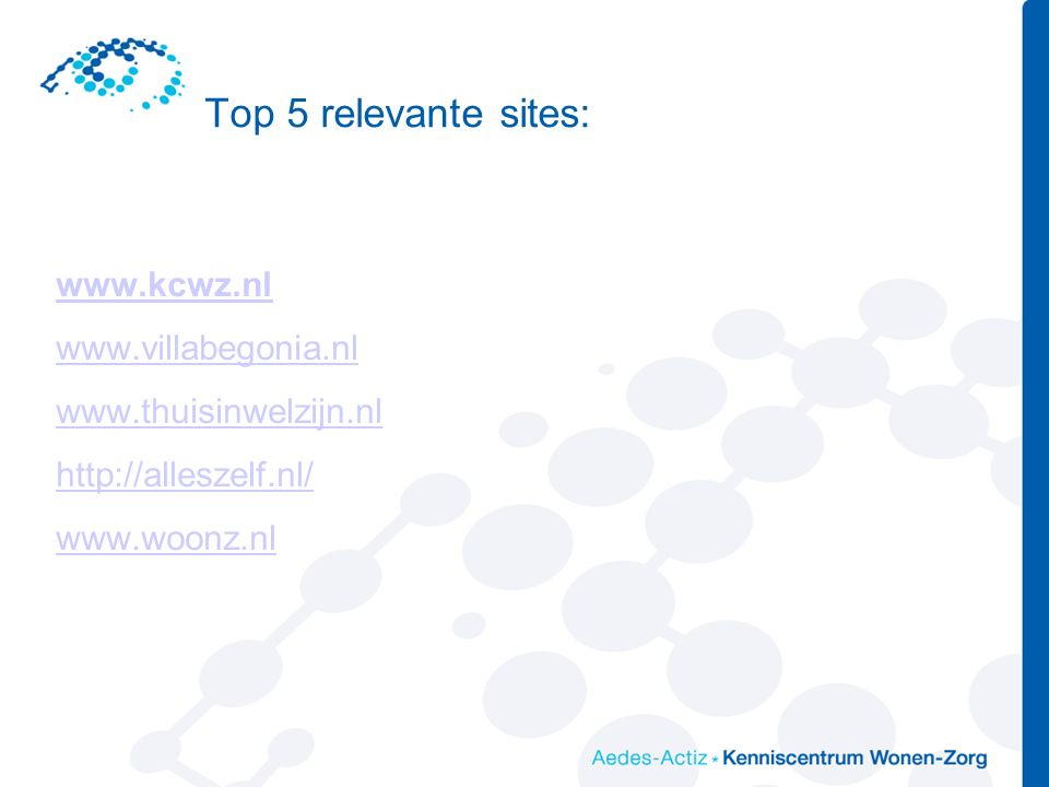 Top 5 relevante sites: www.kcwz.nl www.villabegonia.nl www.thuisinwelzijn.nl http://alleszelf.nl/ www.woonz.nl