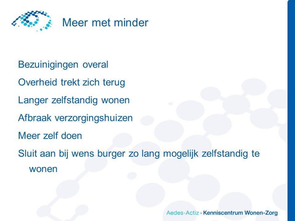 Variëteit va eigen initiatieven is enorm Er zijn naast dorps en zorgcoöperaties ook: Wijkondernemingen Burenhulpcentrales Ruilprojecten Buurthuizen gerund door burgers Inloophuizen voor bijv.