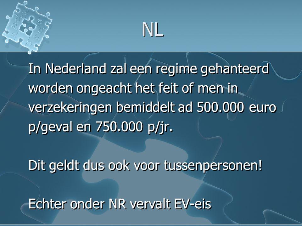 NL In Nederland zal een regime gehanteerd worden ongeacht het feit of men in verzekeringen bemiddelt ad 500.000 euro p/geval en 750.000 p/jr.