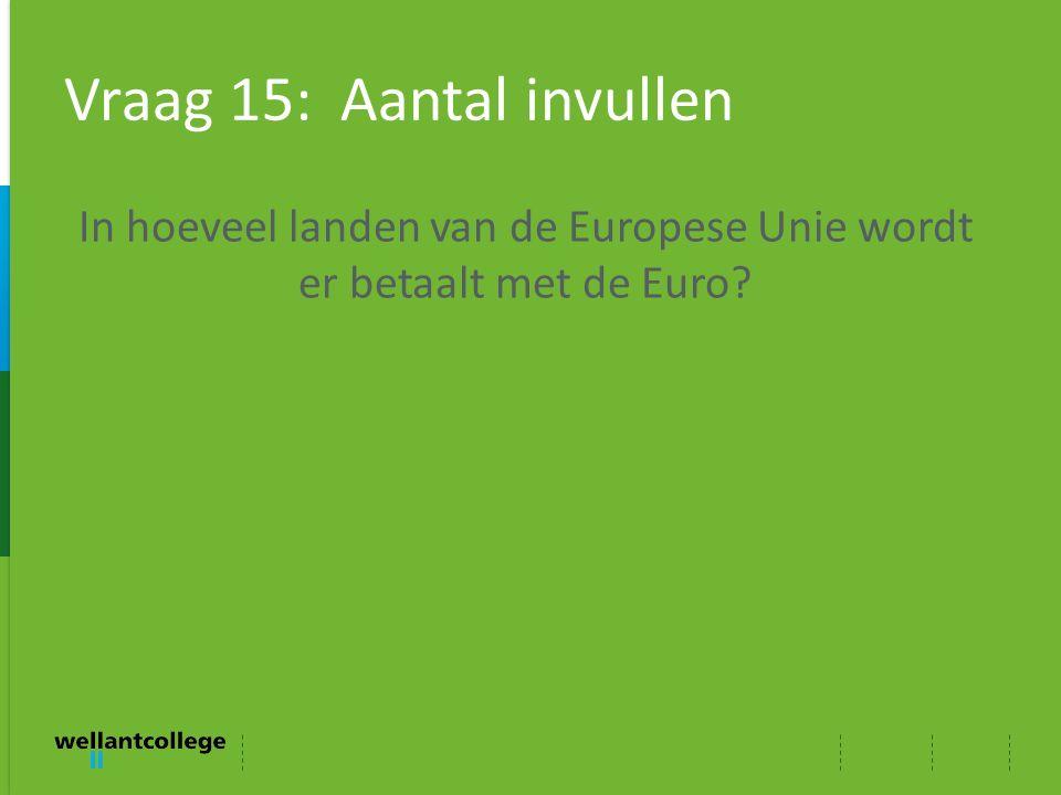 Vraag 15: Aantal invullen In hoeveel landen van de Europese Unie wordt er betaalt met de Euro?
