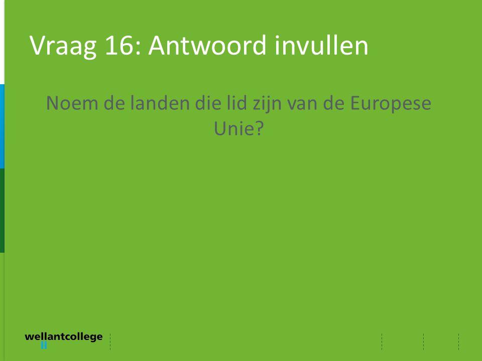 Vraag 16: Antwoord invullen Noem de landen die lid zijn van de Europese Unie?