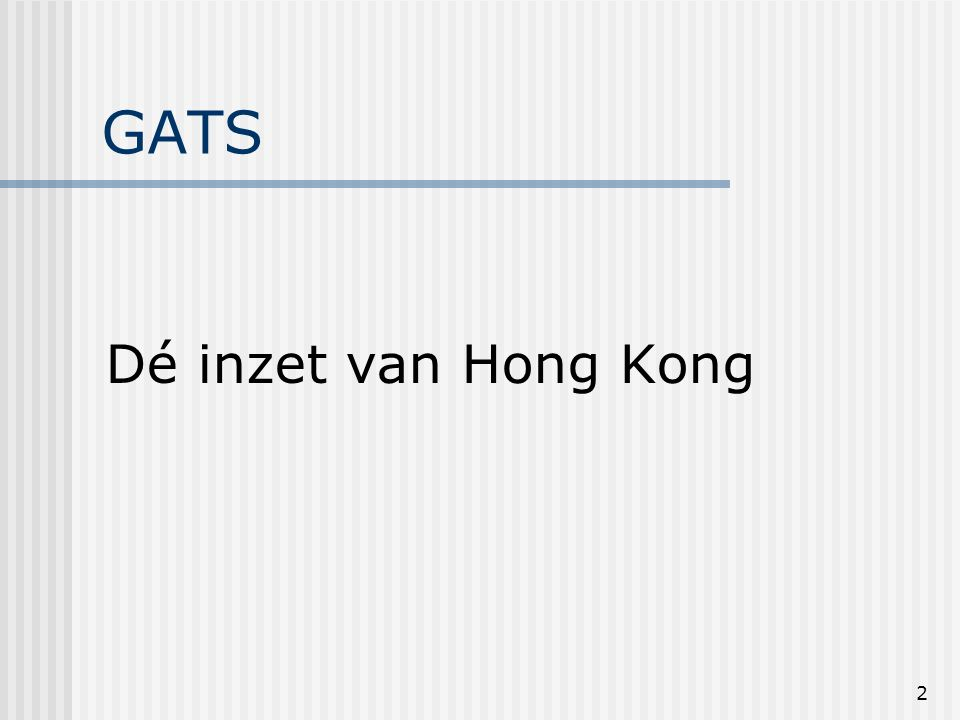 13 GATS: Hong Kongtekst Verwijzing naar bijlage C in hoofdtekst: We are determined to intensify the negotiations in accordance with the above principles and the Objectives, Approaches and Timelines set out in Annex C to this document with a view to expanding the sectoral and modal coverage of commitments and improving their quality.