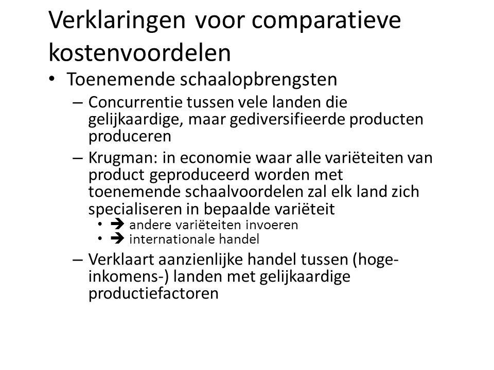 Verklaringen voor comparatieve kostenvoordelen Toenemende schaalopbrengsten – Concurrentie tussen vele landen die gelijkaardige, maar gediversifieerde producten produceren – Krugman: in economie waar alle variëteiten van product geproduceerd worden met toenemende schaalvoordelen zal elk land zich specialiseren in bepaalde variëteit  andere variëteiten invoeren  internationale handel – Verklaart aanzienlijke handel tussen (hoge- inkomens-) landen met gelijkaardige productiefactoren
