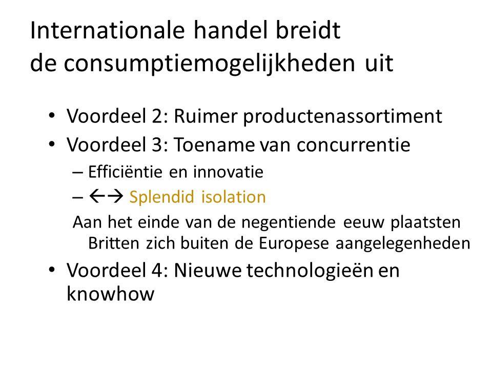 Voordeel 2: Ruimer productenassortiment Voordeel 3: Toename van concurrentie – Efficiëntie en innovatie –  Splendid isolation Aan het einde van de negentiende eeuw plaatsten Britten zich buiten de Europese aangelegenheden Voordeel 4: Nieuwe technologieën en knowhow Internationale handel breidt de consumptiemogelijkheden uit