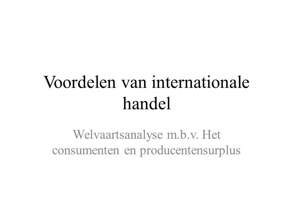 Voordelen van internationale handel Welvaartsanalyse m.b.v. Het consumenten en producentensurplus