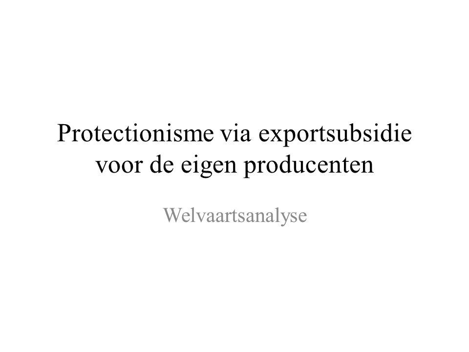 Protectionisme via exportsubsidie voor de eigen producenten Welvaartsanalyse