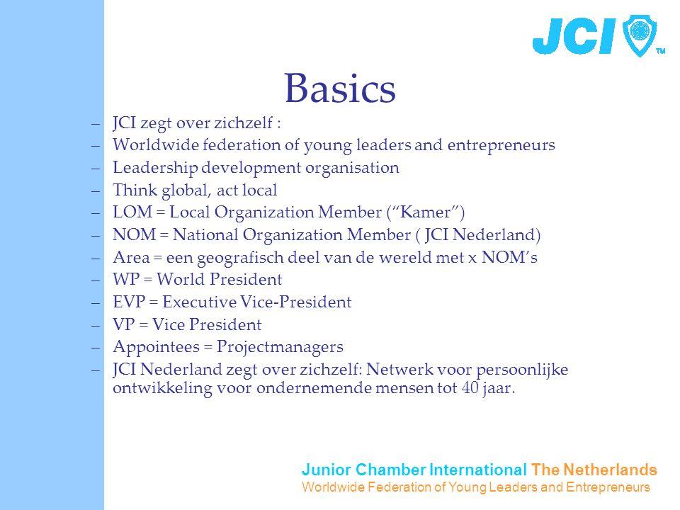 Junior Chamber International The Netherlands Worldwide Federation of Young Leaders and Entrepreneurs Basics –JCI zegt over zichzelf : –Worldwide feder