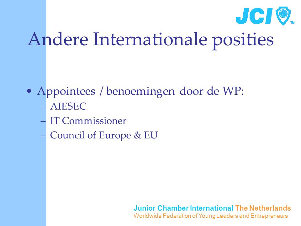 Junior Chamber International The Netherlands Worldwide Federation of Young Leaders and Entrepreneurs Andere Internationale posities Appointees / benoemingen door de WP: –AIESEC –IT Commissioner –Council of Europe & EU