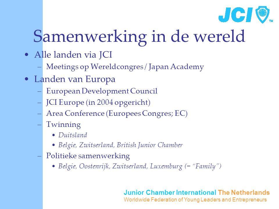 Junior Chamber International The Netherlands Worldwide Federation of Young Leaders and Entrepreneurs Samenwerking in de wereld Alle landen via JCI –Me