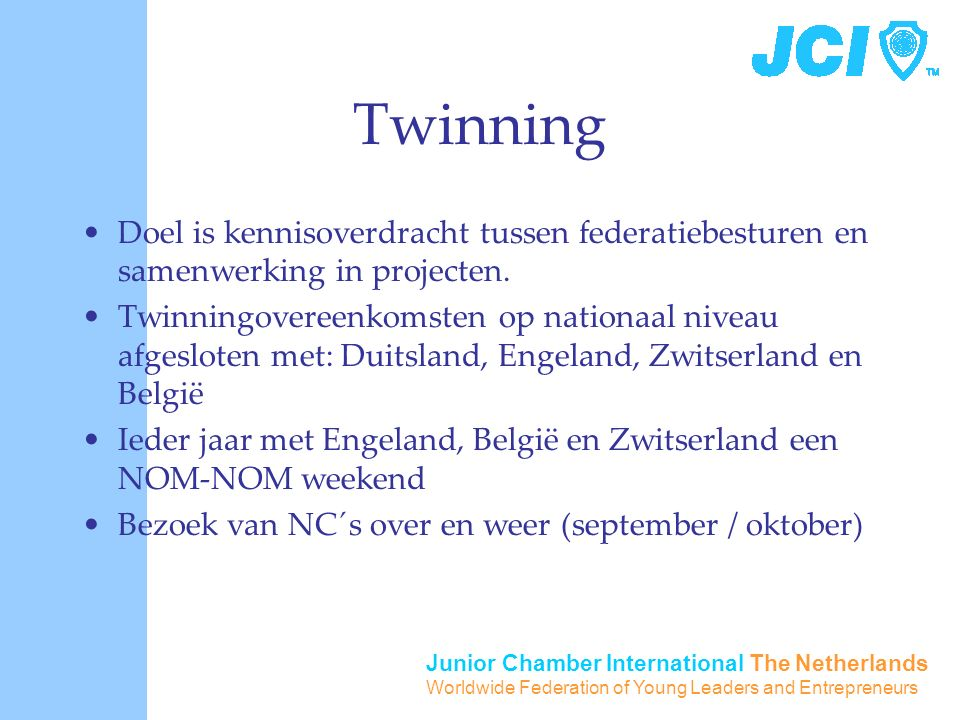 Junior Chamber International The Netherlands Worldwide Federation of Young Leaders and Entrepreneurs Twinning Doel is kennisoverdracht tussen federati