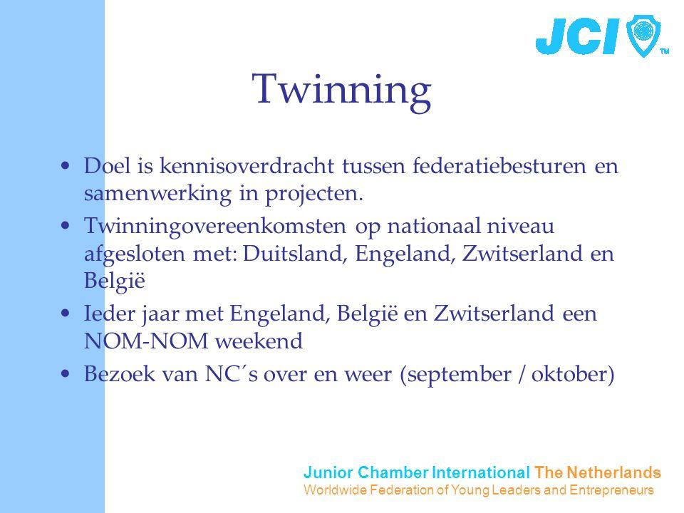 Junior Chamber International The Netherlands Worldwide Federation of Young Leaders and Entrepreneurs Twinning Doel is kennisoverdracht tussen federatiebesturen en samenwerking in projecten.