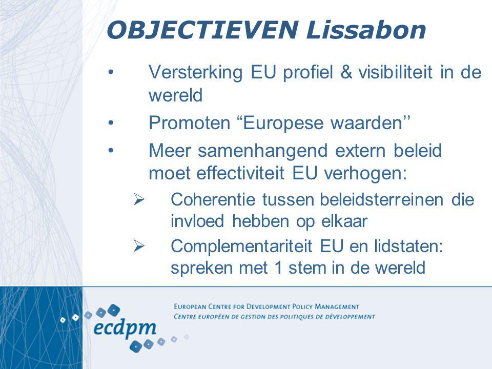 """OBJECTIEVEN Lissabon Versterking EU profiel & visibiliteit in de wereld Promoten """"Europese waarden'' Meer samenhangend extern beleid moet effectivitei"""